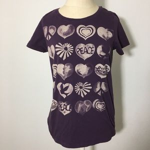 Lucky Brand purple T-shirt with Hearts peace& love